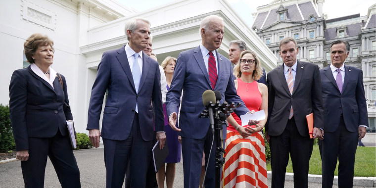Image: President Joe Biden, with a bipartisan group of senators on June 24, 2021, outside the White House in Washington. Biden invited members of the group of 21 Republican and Democratic senators to discuss the infrastructure plan.