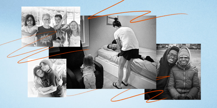 Illustration of multiple families with special needs loved ones who need home care.
