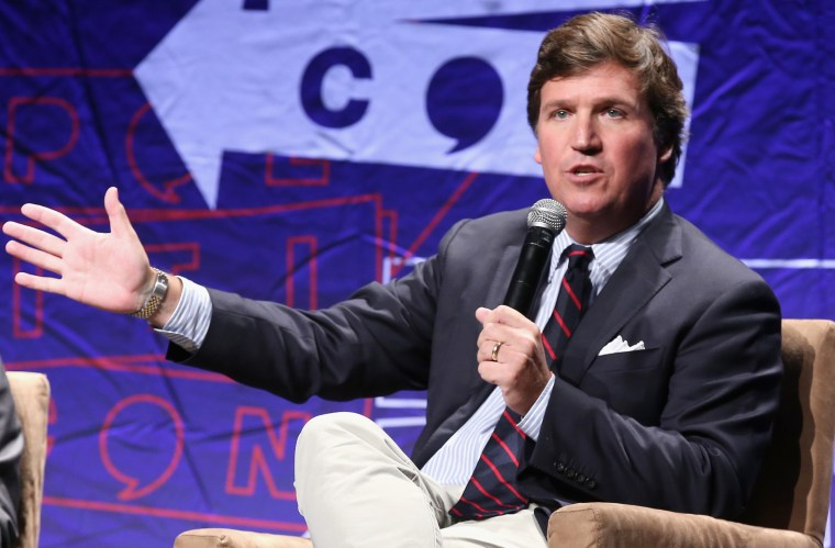 Tucker Carlson speaks onstage during Politicon 2018 at Los Angeles Convention Center on October 21, 2018.