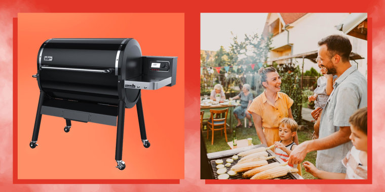 Image of family having a barbecue party in their backyard and a Pellet Grill. See the best pellet grills to try in 2021. Learn how to shop for a pellet grill and check out the best pellet grills from Pit Boss, Traeger, Louisiana Grills and more.