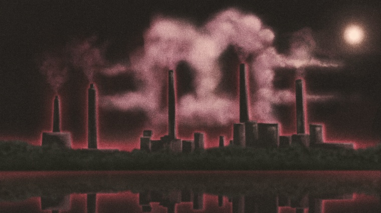 """Illustration of a power plant at night with emissions rising in the shape of a Bitcoin \""""B\"""" logo."""