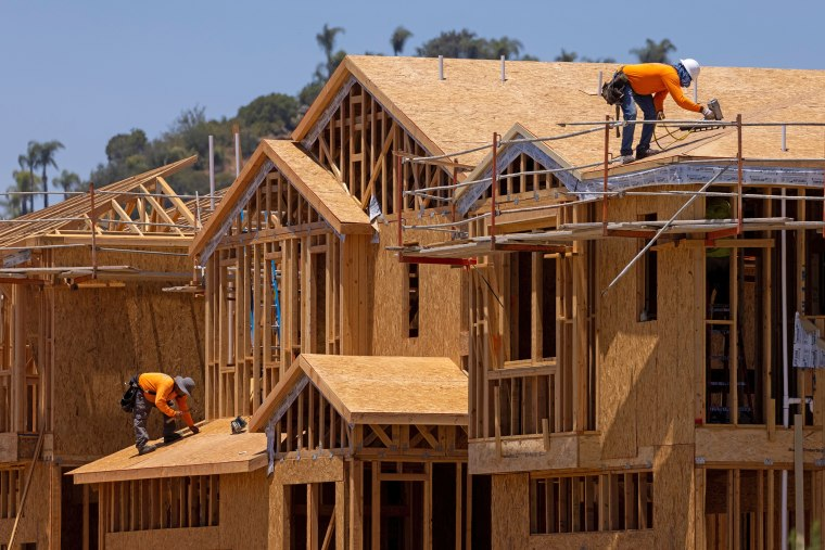 Image: Workers build residential single family homes in Valley Center, Calif., on June 3, 2021.