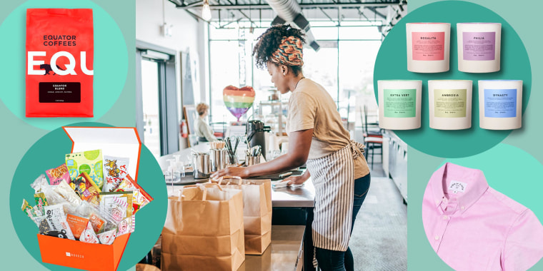Illustration of a Woman at her coffee shop, a bag of coffee, 5 candles from Boy Smells Pride, a Bokksu Monthly Subscription Box and a Pink shirt from Kirrin Finch