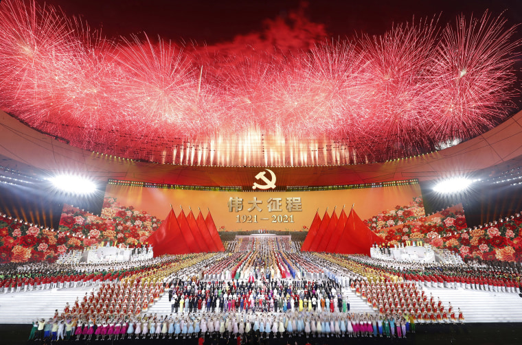 Image: Fireworks above the National Stadium during an art performance titled 'The Great Journey' is held in celebration of the 100th anniversary of the founding of the Communist Party of China at the National Stadium in Beijing, on Monday.