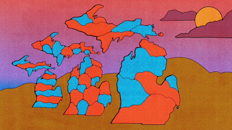Illustration of three different Michigan redistricting maps. An ominous horizon is in the background.