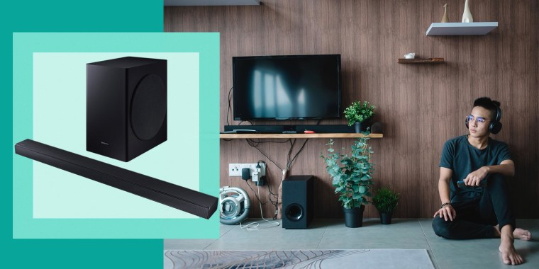 Illustration of Man listening to sound bar speakers in his home and the Samsung HW-T650 3.1-Channel Sound Bar