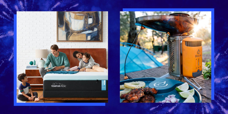 Illustration of a family on a mattress and a BioLite cooking set. Shop the best 4th of July 2021 sales happening now. See mattress and bedding sales, furniture and appliance sales, fashion and beauty sales and more.