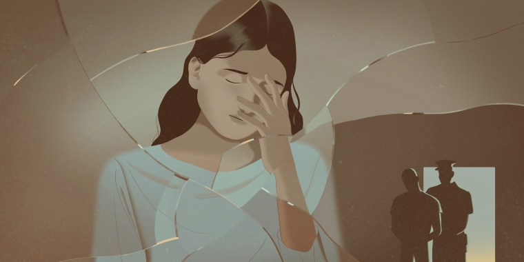 Illustration of an emotional woman behind broken glass as the silhouette of a man is arrested by a police officer.