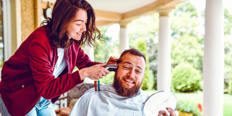 Male Afraid While Getting A Haircut By Female At Home