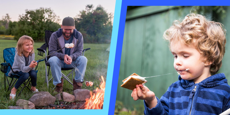 Young boy eating a smore outdoors and getting sticky and Father and daughter sitting beside campfire, toasting marshmallows over fire -