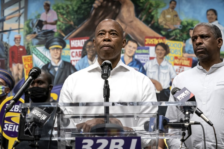 Mayoral candidate Eric Adams thanks 32BJ SEIU union volunteers and essential workers after landing the most 1st place votes in Democratic Party primaries at union headquarters in New York on June 25, 2021.