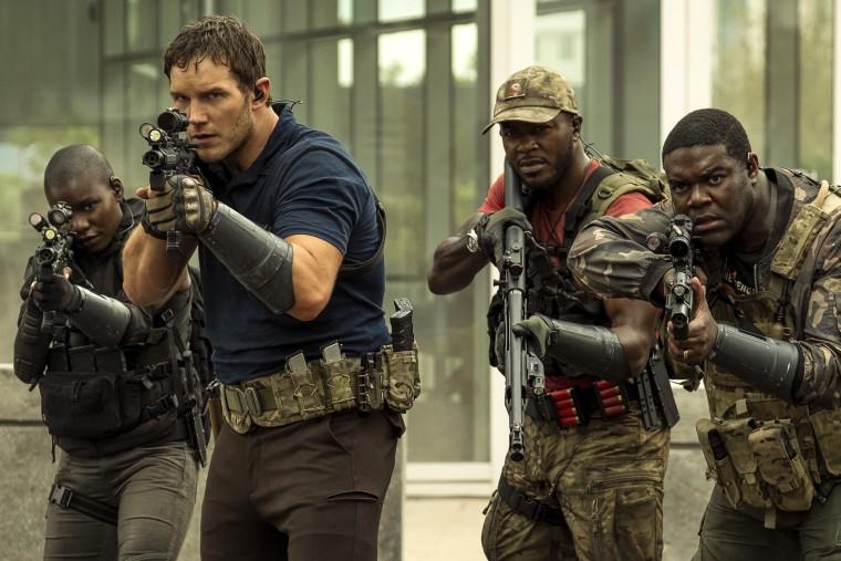 "Image: Chris Pratt, Edwin Hodge, and Sam Richardson star in \""The Tomorrow War.\"""