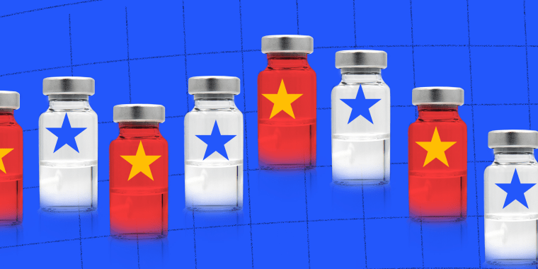 Photo illustration: Red and white medicine vials over a grid.