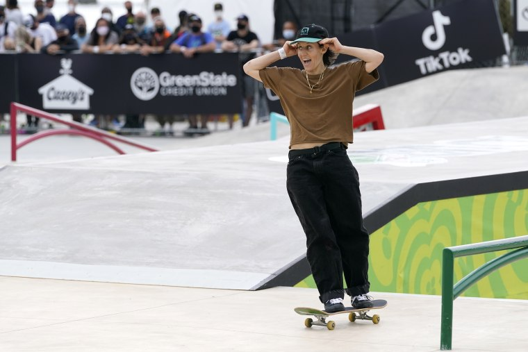 Image: Alexis Sablone, of the United States, after her run in the Olympic qualifying skateboard event on May 22, 2021, in Des Moines, Iowa.