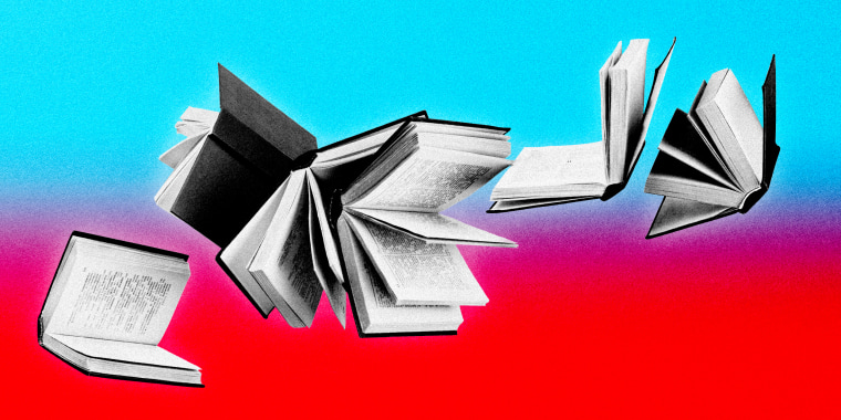 Illustration of books falling on a TikTok inspired background.
