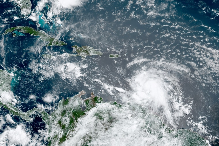 Hurricane Elsa moving through the Caribbean, over Barbados, on July 2, 2021, at 10:50 a.m.