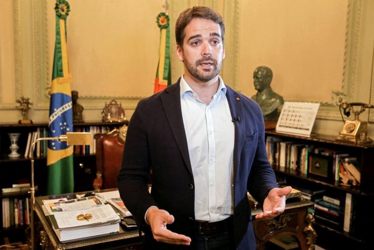 Image: Rio Grande do Sul Governor Eduardo Leite talking at his office of the Piratini Palace in Porto Alegre, Rio Grande do Sul, Brazil, on March 31, 2020.