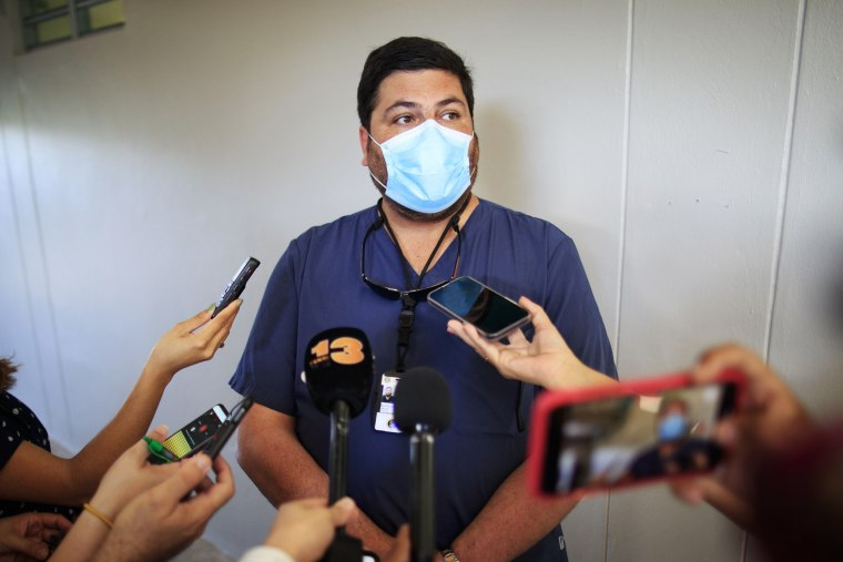 Puerto Rico's health secretary, Dr. Carlos Mellado, in Vieques on March 10.