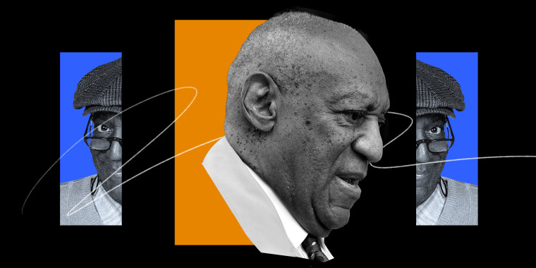 Photo illustration: Two halves of an archival image of Bill Cosby on either side of a current image of him.