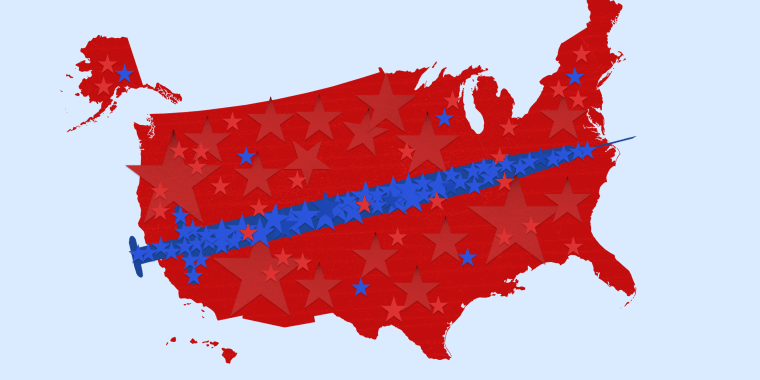 Illustration: Red stars form the shape of the United States of America and blue stars form a vaccine over it.