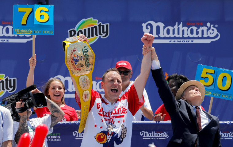 Image: Nathan's Famous Fourth of July Hot Dog Eating Contest, in Brooklyn, New York City