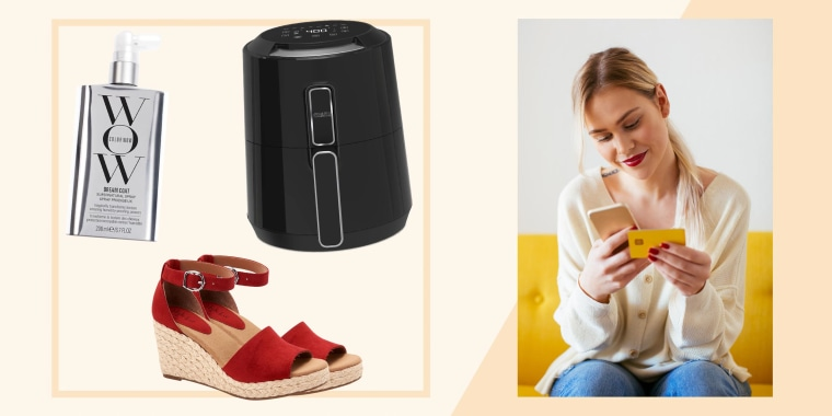 Illustration of Blonde woman using smartphone and using bank card at home, Colow Wow, red shoes and an air fryer