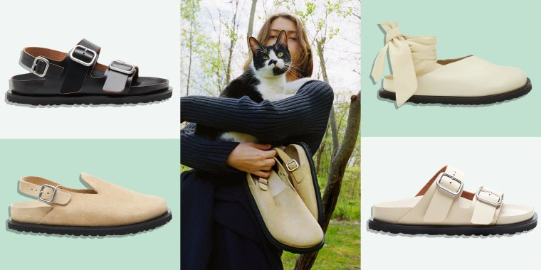 Illustration of four different Birkenstock shoes designed by designer brand Jil Sander and a Woman holding a cat and a pair of the shoes