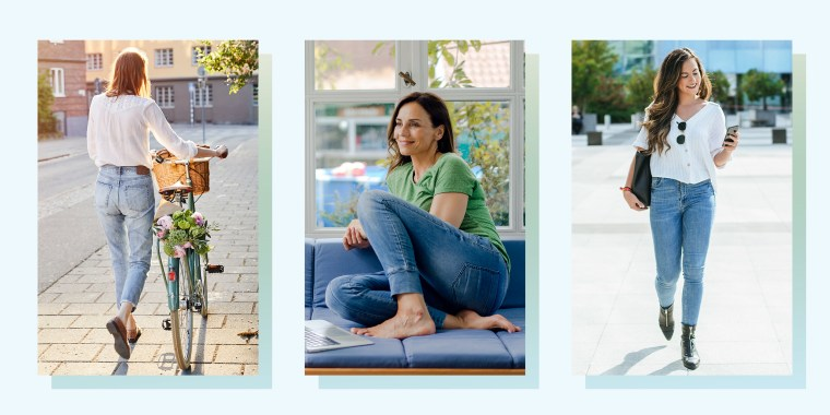 Three images of different aged Woman wearing stylish jeans