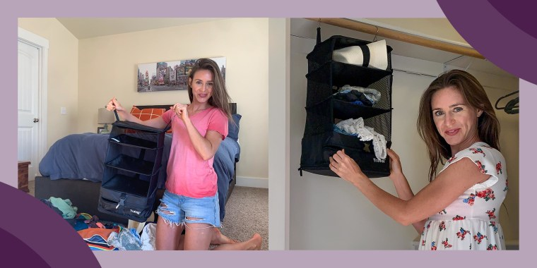 Katie Jackson shows before and after packing with a smart luggage system