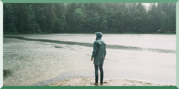Man in raincoat standing near the lake under the pouring rain. Shop the best lightweight rain jackets of 2021 that are waterproof, water-resistant and water-repellent -- and experts explain the difference between the three.