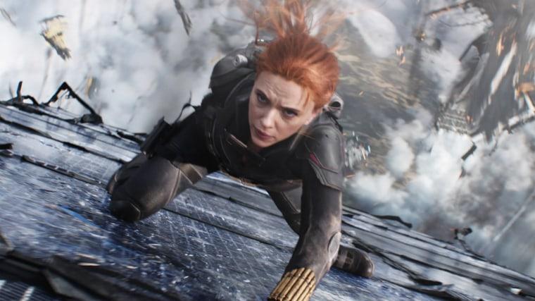 """Scarlett Johansson in a scene from Marvel's \""""Black Widow.\"""""""