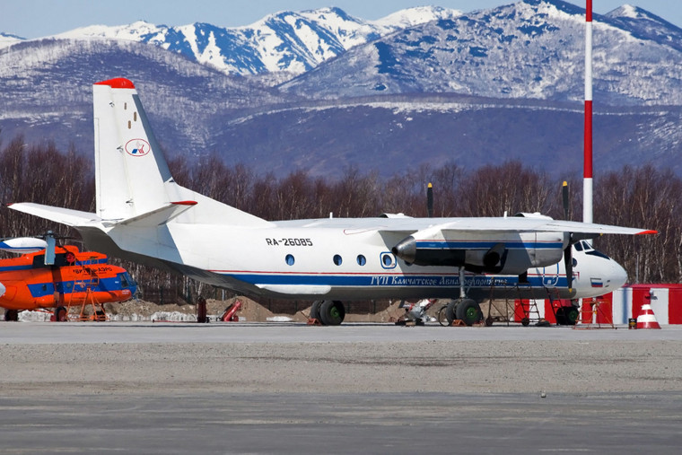 Image: Russian An-26 plane with the tail number RA-26085 in in Petropavlovsk-Kamchatsky, Russia.