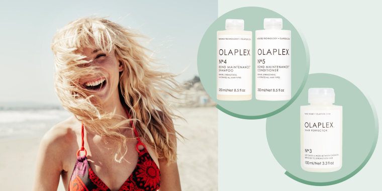 Portrait of cheerful woman on beach with bleach blond hair and three different Olaplex products. Hair restoration, healing and hydration is key for bleached hair. Olaplex, Ouai, Verb Purple and Moroccanoil products can help heal hair after bleaching.