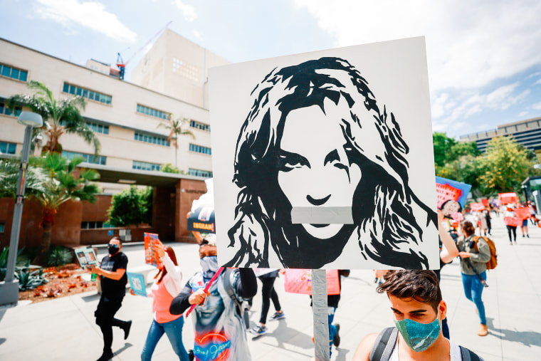 Image: #FreeBritney activists protest outside the courthouse in Los Angeles during a conservatorship hearing on April 27, 2021.
