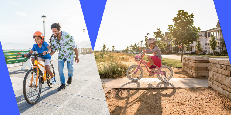 Boy riding a bike with his dad and Side view of girl riding bicycle against clear sky during sunny day