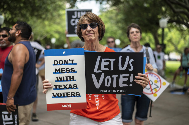People rally against a controversial voting bill at the state Capitol on June 20, 2021, in Austin, Texas.