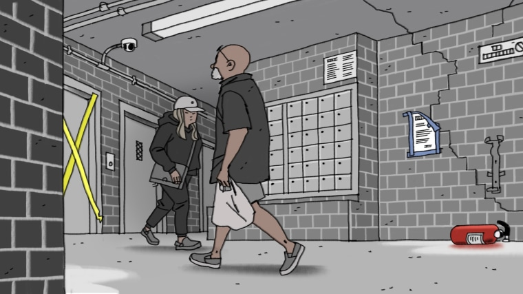 Illustration of people walking in HUD housing. An inspection notice is on the wall, a door is taped up, and a broken fire extinguisher lies on the floor.