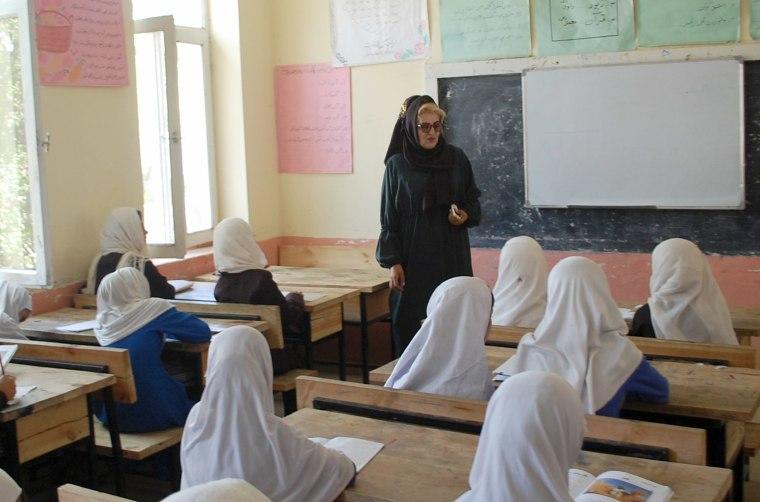 Image: Principal Lailuma Khaliqyar teaches at Um-Salma girls' school in Charikar, Afghanistan