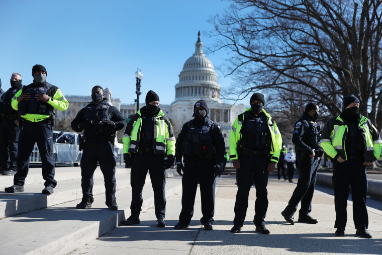 Image: Members of the Metropolitan Police Department of the District of Columbia are seen in front of the U.S. Capitol