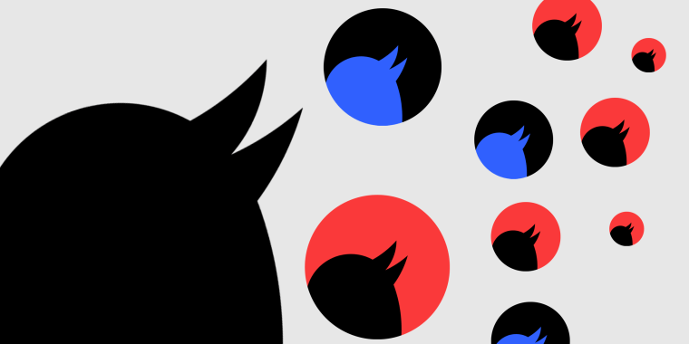 Illustration: Fragment of the Twitter logo repeated in blue, red and black colors.