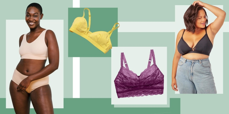 Illustration of a triangle bra from Parade, Cosabella Never Say Never Curvy Sweetie Bralette, Lively The Busty Bralette and a Woman wearing the Harper Wilde The Bliss