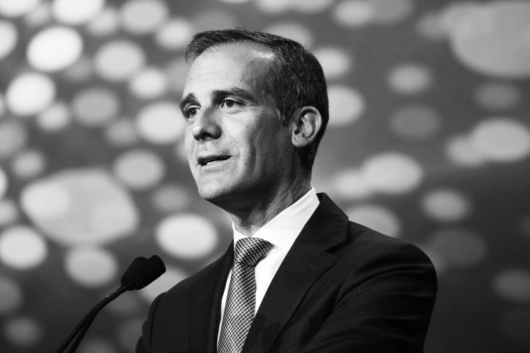 Image: Los Angeles Mayor Eric Garcetti during the Milken Institute Global Conference in Beverly Hills, Calif., on April 29, 2019.