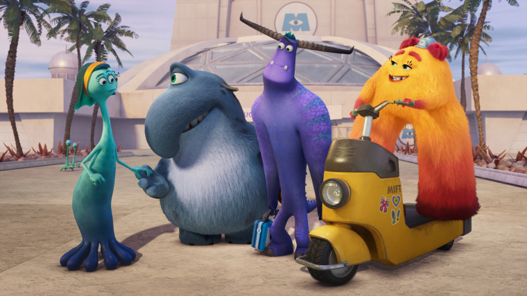 """Millie, Tuskmon, Fritz, Taylor and Val in \""""Monsters at Work\"""" from Disney."""