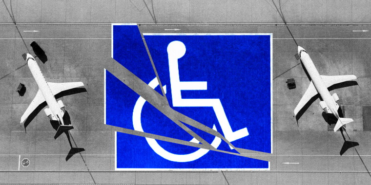 Photo illustration: Aerial view of airplanes on the tarmac on either sides of a Disabled signage that is broken.