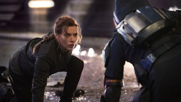 "Scarlett Johansson as Natasha Romanov in Disney and Marvel's \""Black Widow.\"""