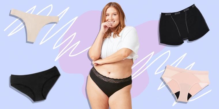 Illustration of a Woman wearing the ModiBodi Sensual Hi-Waist Bikini, a Leakproof Thong,  Saalt Elemental Mesh Hipster, Aisle Boxer Brief and Rael Reusable Period Underwear
