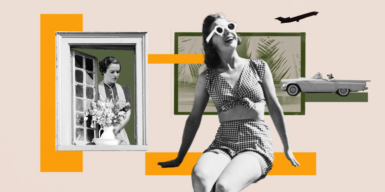 Illustration of woman on vacation with another woman looking through it