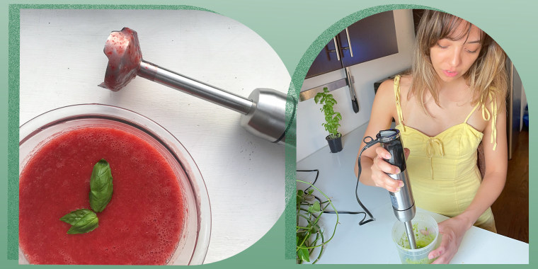 Illustration of Cailey Rizzo using an immersion blender in her kitchen and the blender next to a blended soup
