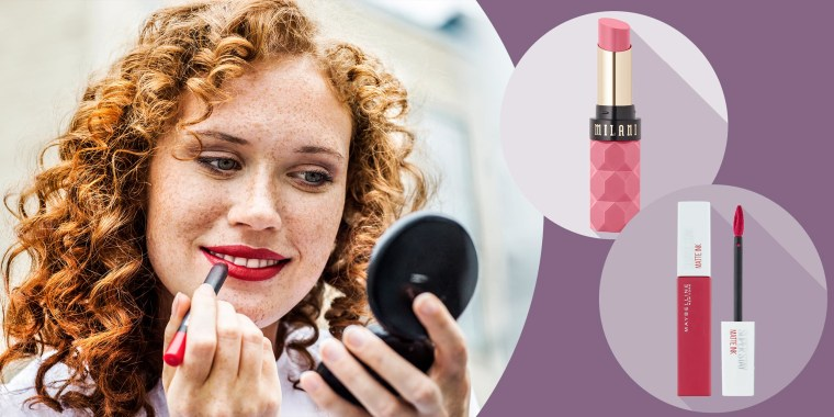 Portrait of freckled young woman applying lipstick, Milani Color Fetish Lipstick and Maybelline SuperStay Matte Ink Liquid Lipstick
