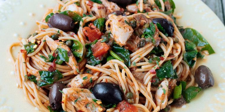 This easy spaghetti dish showcases tinned mackerel.